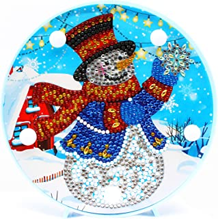Diamond Painting LED Light Snowman 5D Full Drill by Number Kits Christmas Gifts or Embroidery Craft for Home Decoration-6.0in X 6.0in (Christmas-B)
