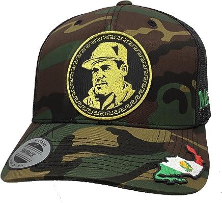 MEXICO EL Chapo Guzman Gold Hat Mesh Camo Black 3 Logos Mapa EN LA VISERA AL