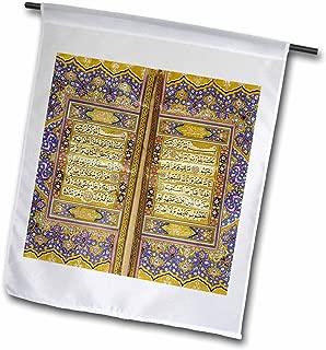 3dRose fl_162529_1 Purple and Gold Islamic Suras-Decorated Quran Prayers in Arabic Text-Islam Muslim Arabian Koran Garden Flag, 12 by 18-Inch
