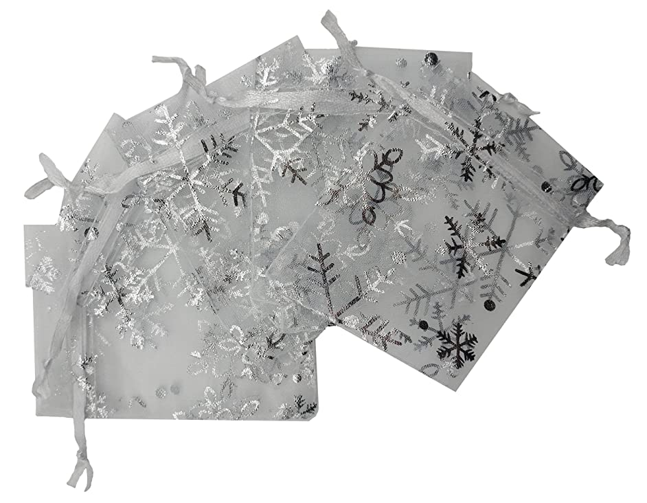 Ankirol 100pcs Christmas Organza Favor Bags Snowflake Jewelry Candy Gift Bags Samples Display Drawstring Pouches (White, 2.8x3.6)