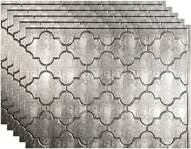 FASÄDE Monaco Decorative Vinyl 18in x 24in Backsplash Panel in Crosshatch Silver (5 Pack)