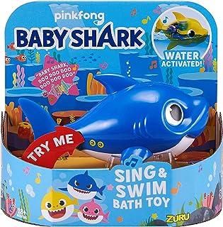 ZURU ROBO ALIVE JUNIOR- Daddy tiburón Juguete de baño para Cantar y Nadar, Color Azul (25282B)