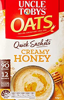 Uncle Toby's Oats, 12 Quick Sachets, Creamy Honey, Ready In 90 Seconds