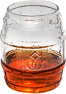 Barrel Whiskey Glass - Rocks Glass for Rum, Tequila, Scotch, Glasses - Whiskey Gifts - 10oz Cocktail, Lowball, Old Fashioned Glass (Set of 2) Unique Bar Decor & Bourbon Gifts by Prestige Decanters