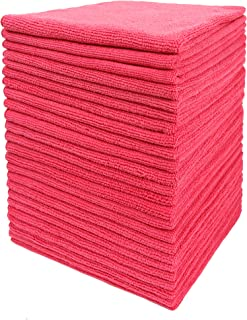 DRI Microfiber Cleaning Cloth Plus 16 x 16 inch (Commercial Grade, Extra Absorb, Cleaning Power and Dry Fast) (240, Red)