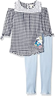 One Step Up Girls Gathered Thermal Top with Necklace