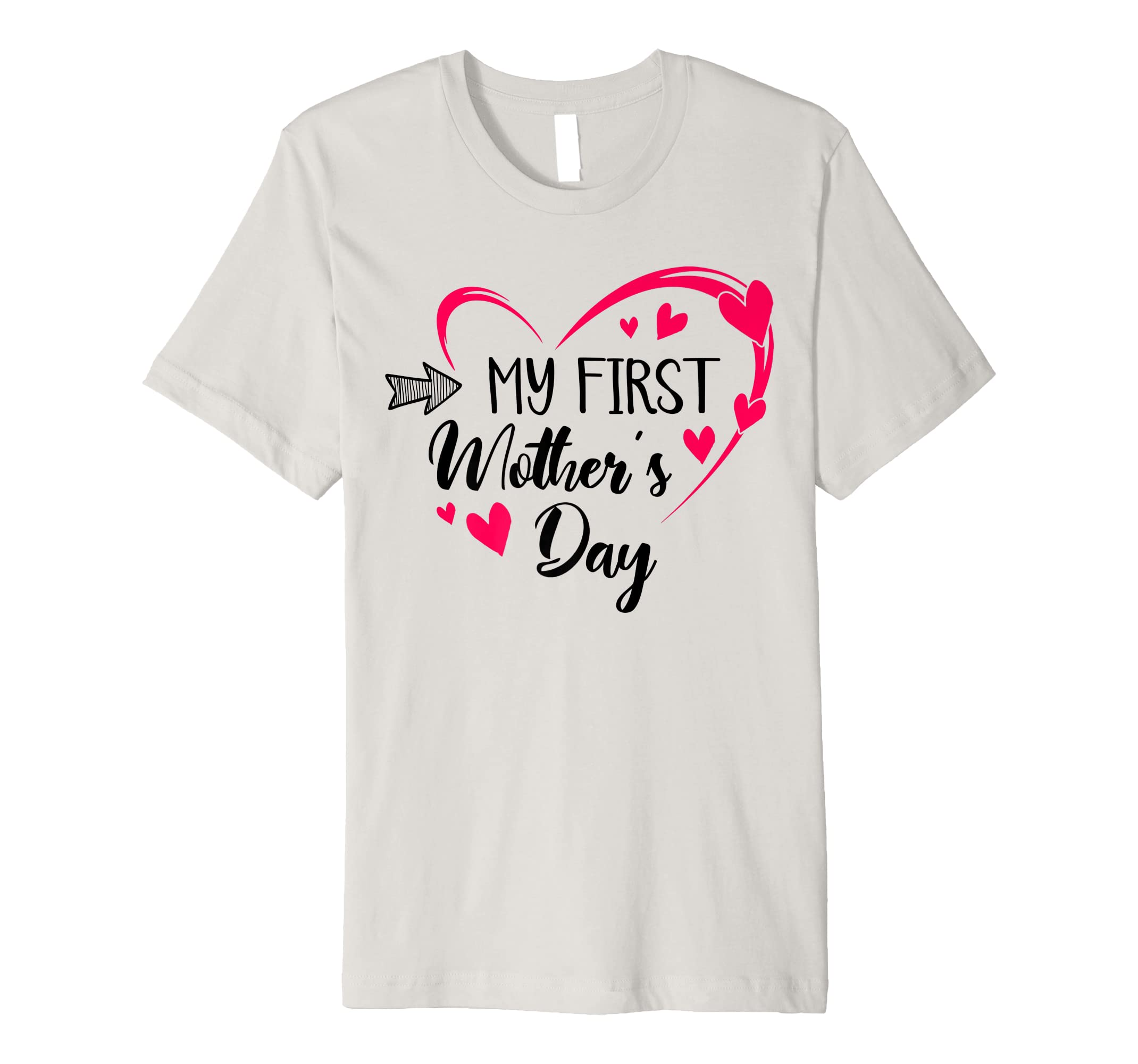 83ef544284970 Amazon.com: My First Mother's Day Heart Pregnancy Announcement Premium T- Shirt: Clothing