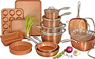 Gotham Steel Hammered Copper Collection – 20 Piece Premium Cookware & Bakeware Set with Nonstick Copper Coating, Includes ...