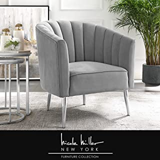 Nicole Miller Cecilio Accent Chair - Velvet Upholstered | Channel Tufted Back | Mirrored Metal Legs | Glam Style | Grey/Chrome