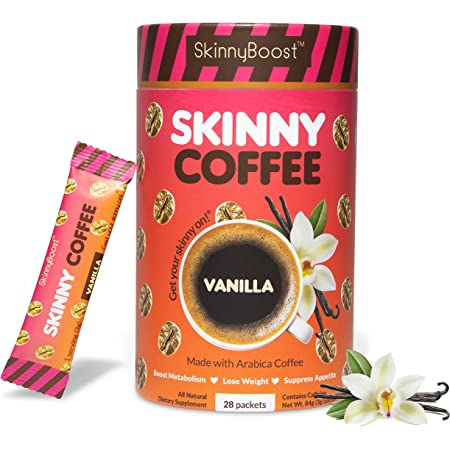 Skinny Boost Skinny Coffee- (Vanilla Flavored) Instant Slimming Coffee Blend Made with premium Arabica Coffee, Garcinia Cambogia, Green Tea Extract, Green Coffee Bean Extract, and Prebiotics- Supports Weight Loss and Detox-Gluten Free/Keto Friendly, Non GMO. (28 Packets)