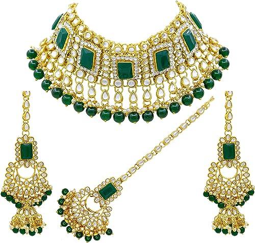 Saiyoni Indian Bridal Green Kundan Choker Necklace Set with Maang-Tikka for Women