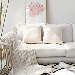 Kevin Textile Checkered Weaving Cotton Linen Decorative Square Throw Cushion Covers Pillowcase for Sofa, 2 Packs, 18 x 18 Inch (45 x 45cm),Light Beige