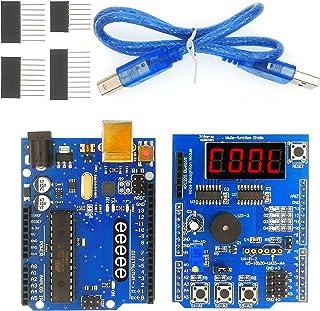 eeeee Uno R3 ATMEGA 328P 16U2 & Multi-Function Shield Starter kit for Sensor WiFi Relay Bluetooth Module with Digital Disp...