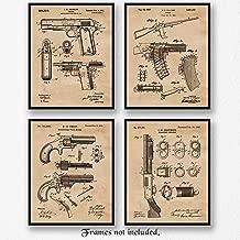 Original Remington Guns Patent Poster Prints, Set of 4 (8x10) Unframed Photos, Wall Art Decor Gifts Under 20 for Home, Office, Studio, Garage, Man Cave, Student, Teacher, Cowboys, Movies & NRA Fan