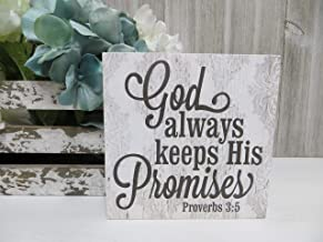 DKISEE Wood Religious Sign God Always Keeps His Promises Wooden Sign Inspirational Christian Scripture Sign Beach Inspired Bible Verse Sign 12