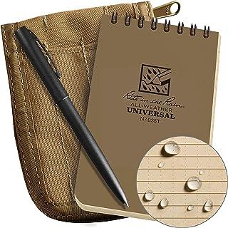 "Rite In The Rain Weatherproof 3"" x 5"" Top-Spiral Notebook Kit: Tan Cordura Fabric Cover, 3"" x 5"" Tan Notebook, and an Weat..."