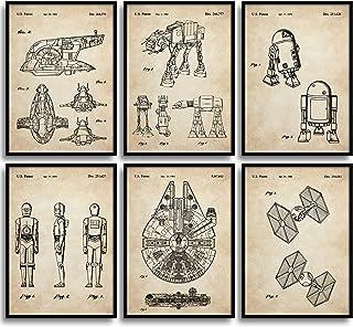 MONOKO® Star Wars Lot de 6 posters brevetés « Guerre des étoiles » sans cadre (set guerre des étoiles, brevet, vintage, 6 ...