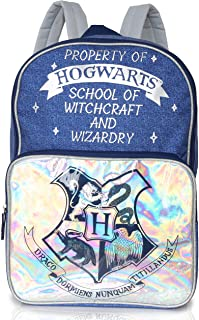 Harry Potter Zaino Scuola Hogwarts Express per Donna, Ragazza, Borsa Backpack Zaino Olografico E Stampa Denim in Blu e Arg...