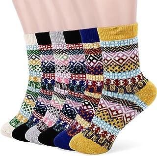 Tencoz Calcetines de Lana Mujer, 6 Pares Calcetines Termicos Mujer calcetines Invierno Grueso Vintage Antideslizante Calen...