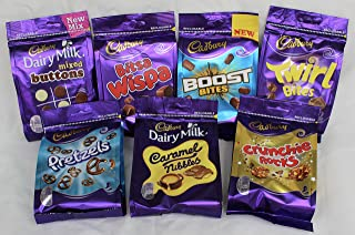 Cadbury Dairy Milk Most Popular Chocolate Bags From England- Mixed Buttons, Bits Wispa, Boost Bites, Twirl Bites, Pretzels, Caramel nibbles, crunchie Rocks