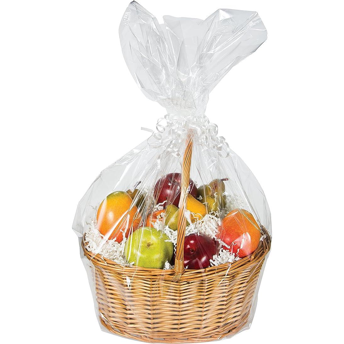 Large Cellophane Basket Bag, Clear