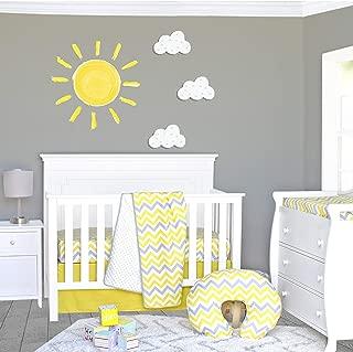 Pam Grace Creations Sunshine 3Piece Crib Bedding Set, Yellow/Gray