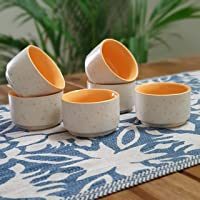 Backspace Ceramic Marble Pattern Serving Dip Sauce Chutney Katori Pickle Mini Bowls Dips (Yellow, Small, 50ml, Set of 6 )
