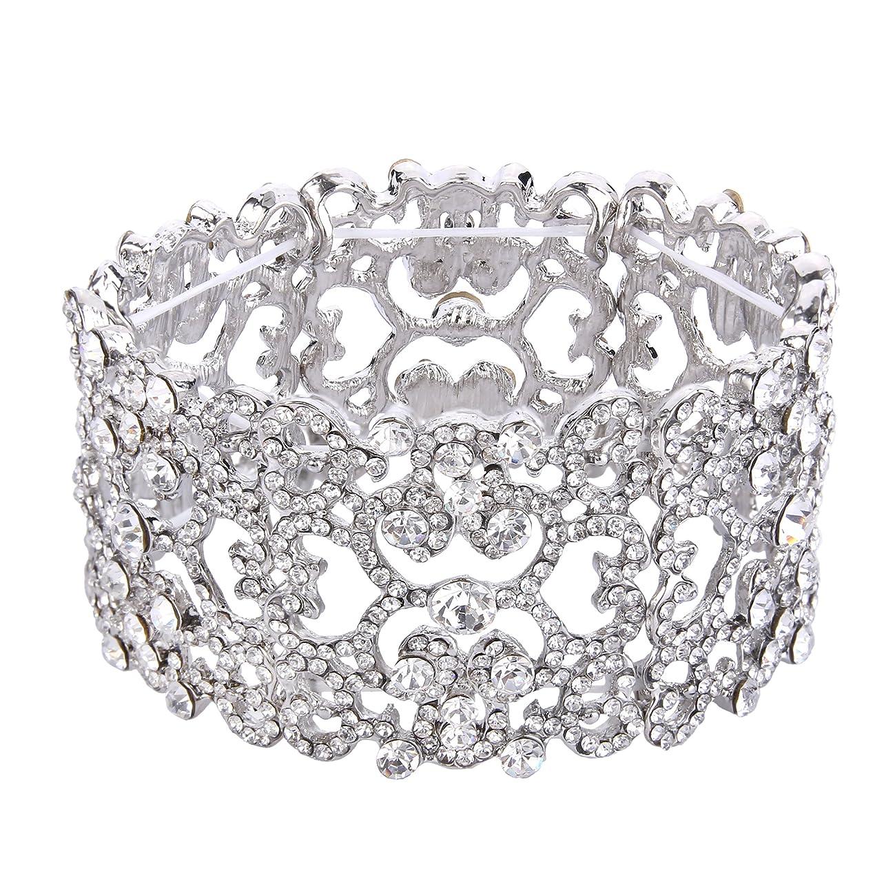 EVER FAITH Women's Austrian Crystal Bride Heart Art Deco Elastic Stretch Bracelet Clear