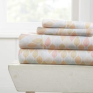 Becky Cameron Premium Ultra Soft Fall Foliage Pattern 4 Piece Bed Sheet Set, Queen, Yellow