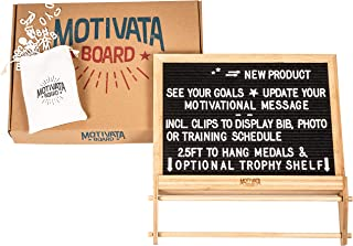Motivata Board Hanging Medals and Trophy Display Shelf with Inspiration Board and Changeable Letters, Wall-Mounted, 16