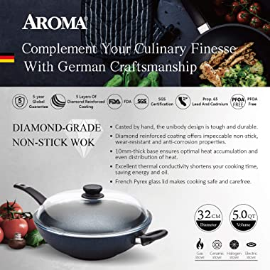 AROMA The Ultimate Wok (Made in Germany) Hand Cast Aluminum Wok with Glass Lid, Nonstick Cookware Pan with Diamond Reinforced