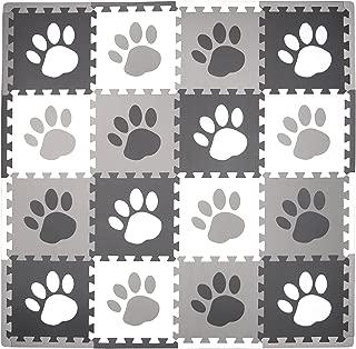 Tadpoles Baby Play Mat, Kid's Puzzle Exercise Play Mat – Soft EVA Foam Interlocking Floor Tiles, Cushioned Children's Play Mat, 16pc, Pawprint, Grey, 50x50