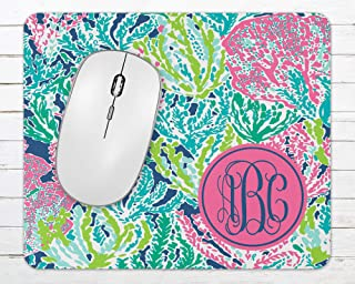 """Monogrammed Lilly Inspired Mousepad   Coral Reef   9.25"""" x 7.75"""" Desk Mouse Pad"""