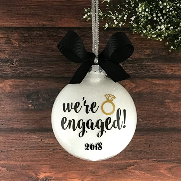 Engaged Ornament 2019 Engagement Christmas Ornament Personalized Engagement Ornaments