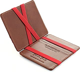 JAIMIE JACOBS ® Magic Wallet Flap Boy Slim - the Original - Slim Wallet, RFID Blocking Wallet, Genuine Leather, Card Wallet, Credit Card Holder, Travel Wallet, Bifold Wallet Men (Dark Brown with Red)