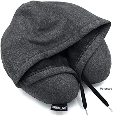 HoodiePillow Inflatable Neck Pillow for Airplane Travel, Car, Train or Relaxing at Home. Compact, Comfortable for Your Neck and Includes Privacy Hood. (Charcoal)