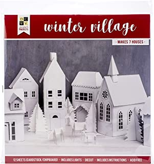 DCWVE Die Cuts with A View Paper Project Christmas-12 x 12-Winter Village-6 Houses-Light String 614731, Multicolor