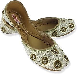 Fulkari Women's Soft Leather Bite and Pinch Free Sunflowar Women's Flat Jutti Ethnic Shoe