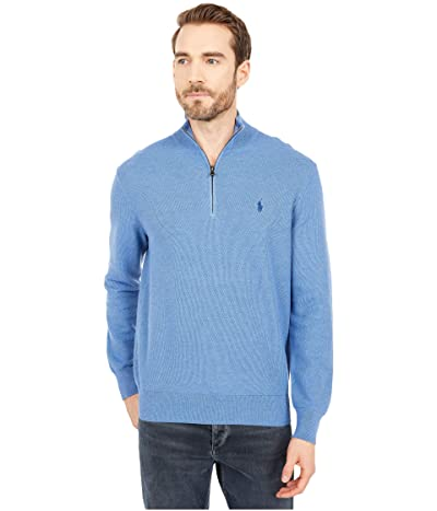 Polo Ralph Lauren Textured Pique 1/2 Zip (Blue Stone Heather) Men