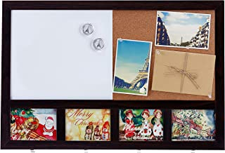 MyGift Wall-Mounted Wooden Combination Whiteboard & Cork Memo Board with 4 Key Hooks & 4 Picture Frame Slots
