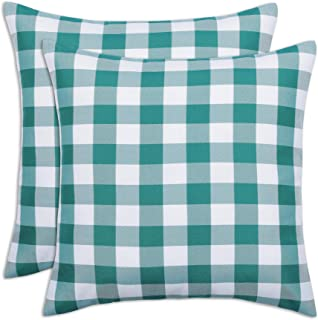 Kaaltisy Set of 2 Square Pillow Covers 18x18 Inches Buffalo Check Throw Pillow Covers Cushion Case Farmhouse Country Chic ...