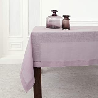 Solino Home Hemstitch Linen Tablecloth - 60 x 108 Inch, 100% Pure Linen Lilac Tablecloth for Indoor and Outdoor use