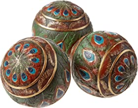 Peacock Feathered Orbs Decorative Accent Balls (Set of Three) [Kitchen]