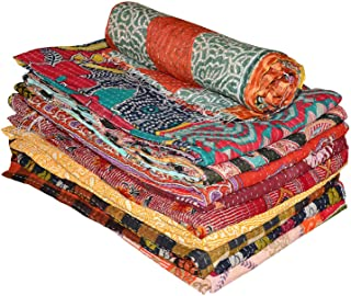 Anokhiart Lot of 5 Pieces Mix Lot Wholesale Tribal Kantha Quilts Vintage Cotton Bed Cover Throw Old Assorted Patches Made Rally
