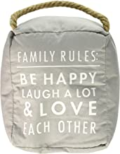 Open Door Décor Familie regels: Be Happy Laugh A Lot Deur Stopper, Grijs