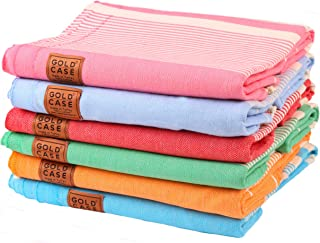 Gold Case Set of 6 XXL Hera Pestemal Turkish Bath Towel 100% Cotton Multi1