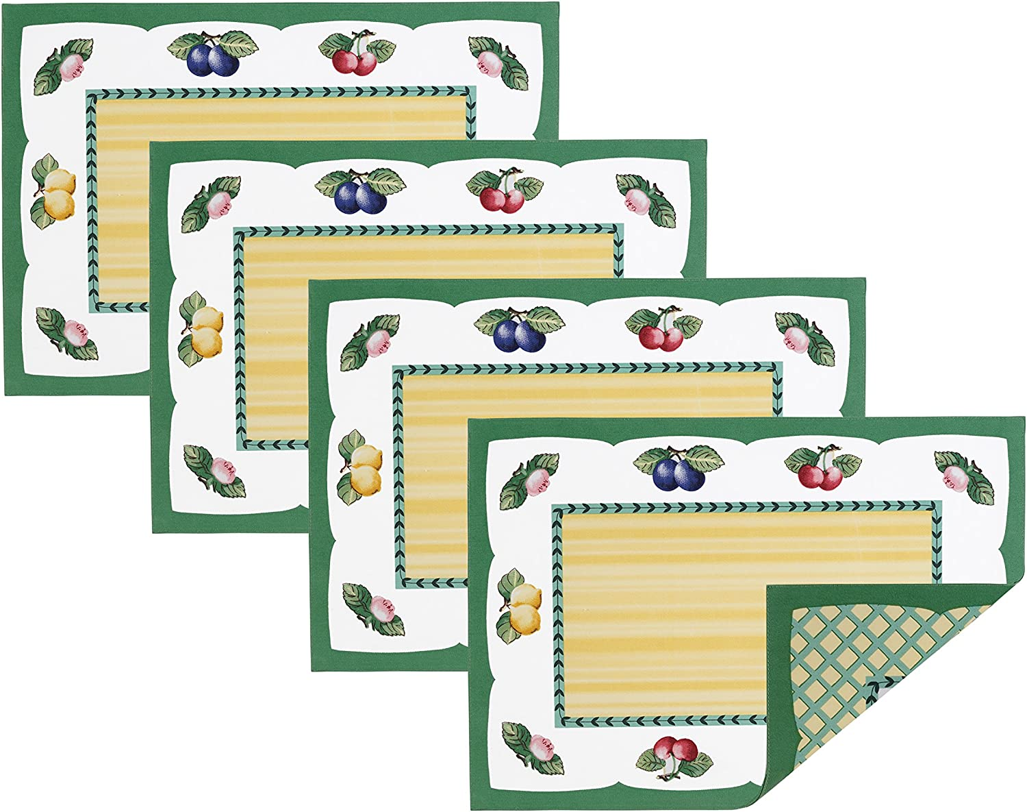 Villeroy and Boch French Garden Cotton Fabric Reversible Placemat (Set of 4), 14 x20 , Linens