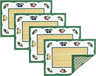 """Villeroy and Boch French Garden Cotton Fabric Reversible Placemat (Set of 4), 14"""" x 20"""", Linens"""