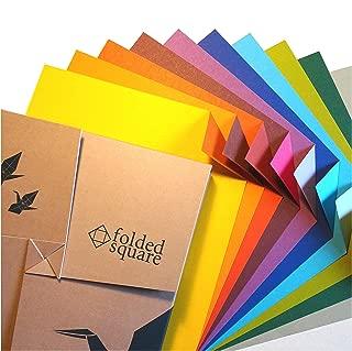 Folded Square Origami – Conjunto de Regalo de Papel para Papiroflexia | 100 Hojas, 15cm Cuadrado | Colección de Colores Complementarios