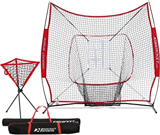 Rukket 7x7 Baseball & Softball Net, Practice Hitting, Pitching, Batting and Catching, Backstop Screen Equipment Training Aids, Includes Carry Bag